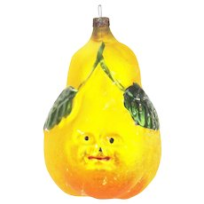 Antique German Blown Glass Pear Face Christmas Ornament ca1910