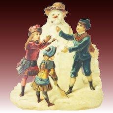 Antique German Die Cut Christmas Snowman Scene ca1900