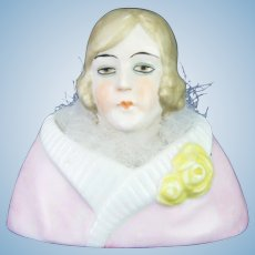 Vintage German Porcelain Lady Powder Puff Jar ca1920