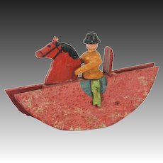 Antique German Erzgebirge Wood Rocking Horse with Rider