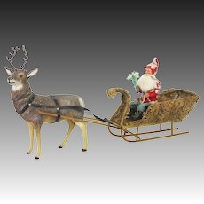 Antique German Reindeer Candy Container Pulling Santa in Loofah Sleigh ca1905