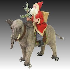 Antique Rare German Santa on Wind Up Automation Elephant Pull Toy ca1915