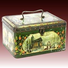 Antique European Lithograph Christmas Tin Box Container