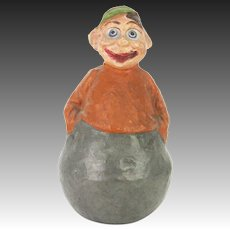 Antique German Paper Mache Roly Poly Brownie Character ca1905