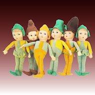 Vintage Norah Wellings Little Pixie People Dolls Set of 6 ca1930