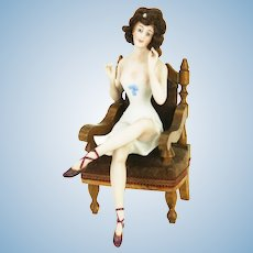 Antique German Rare Bisque Seated Bathing Lady ca1910