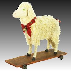 Antique German Sheep / Lamb Pull Toy with Noisemaker ca1900