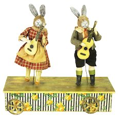 Antique German Musical Mechanical Pull Toy with Easter Bunny Rabbits ca1910
