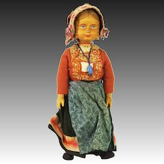 Vintage Swiss Carved Wood Jointed Doll ca1920