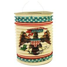 Antique Rare United States Paper Patriotic Flag Candle Lantern