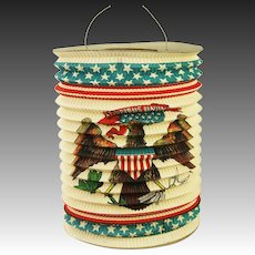 Antique Rare United States Paper Patriotic Flag Candle Lantern