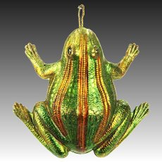 Antique German Dresden Frog Christmas Ornament ca1910