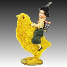 Antique German Chick Chicken Candy Container with Bisque Head Rider ca1910