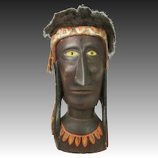 Antique Large Native American Indian Carved Wood Bust Advertising Store Display ca1910