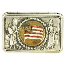 Antique Patriotic Flag Native American Indian Match Safe ca1904