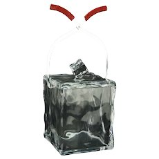 Vintage Mid-Century Modern Lucite Ice Cube Shaped Ice Bucket with Tongs