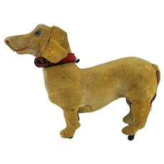 Antique French Roullet & Decamps Wind Up Walking Dog Dachshund  ca1910