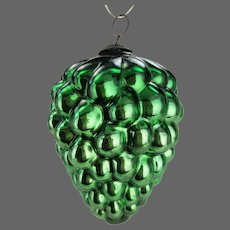 Antique German Green Grape Glass Kugel Christmas Ornament ca1880