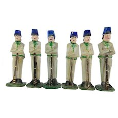 Antique German  Erzgebirge, Wood Toy Soldiers 6pc ca1900