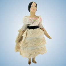 Antique German Miniature Jointed Wood Doll with Paper Mache Head and Shoulders ca1860