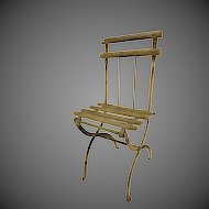 Antique Doll Size Folding Wood and Metal Chair ca1900