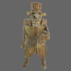 Antique Paper Mache Tree Man Humidor ca1890