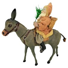 Antique German Santa on Flocked Donkey Candy Container ca1910