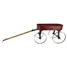 Antique Small Red Wagon Pull Toy ca1910