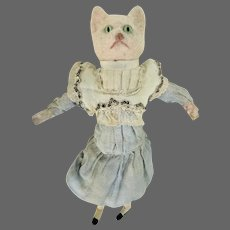 Antique German Musical Cat Head Doll Toy ca1910