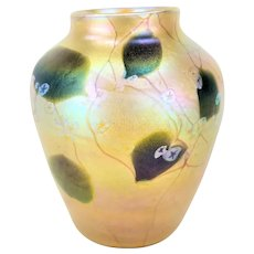 Antique Tiffany Studios Gold Favrile Glass Millefiori Vase ca1910
