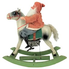 Antique German Santa on Wind Up Rocking Horse ca1920