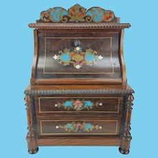 Antique Miniature Inlaid Secretary Desk for Doll, large Dollhouse ca1880