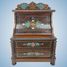 Antique Miniature Inlaid Secretary Desk for Doll, large Dollhouse ca1880
