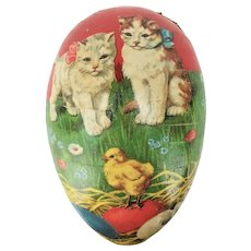 Antique German Paper Lithographed Easter Egg Candy Container Kittens & Chicks ca1915