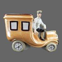 Antique German Car and Driver / Chauffeur Ceramic Bank ca1910