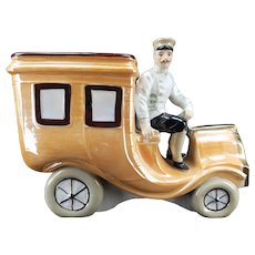 Antique German Car and Driver / Chauffeur Ceramic Bank ca1910