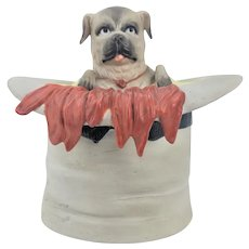 Antique German Bisque Humidor Pug Dog in Top Hat with Gloves