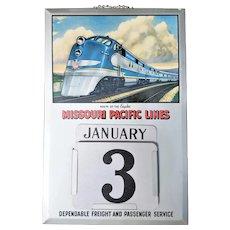 Rare Vintage Missouri Pacific Lines Railroad Perpetual Calendar ca1940