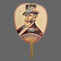 Antique American Patriotic Uncle Sam Political Hand Fan ca1890
