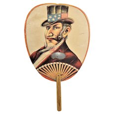 Antique American Patriotic Uncle Sam Political Hand Fan ca1890