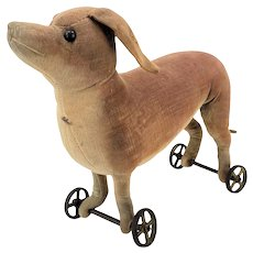 Antique Steiff Dachshund Dog Pull Toy ca1905