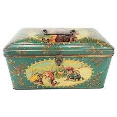 Antique Tin Lithograph Christmas Box ca1910
