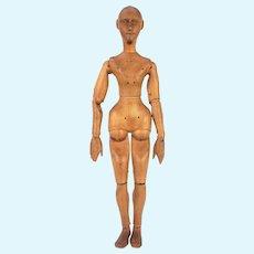 Antique European Artist Mannequin Art Form Carved Wood Jointed ca1900