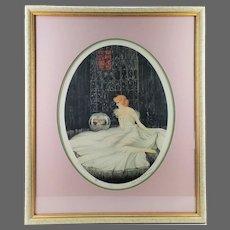 Vintage Louis Icart Framed Signed Limited Print Meditation ca1920