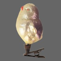 Antique German Blown Glass Baby Chick Christmas Ornament with Clip ca1910