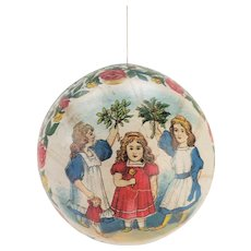 Antique German Paper Lithograph Ball Rattle Christmas Ornament ca1910