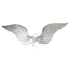 Vintage German Dresden Child Size Silver Angel Wings ca1930