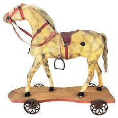 Antique American Carved Wood Horse Pull Toy ca1910