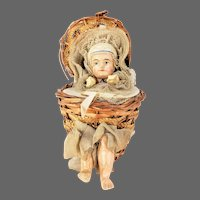 Antique German Paper Mache Doll in Wicker Basket Candy Container ca1910