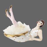 Antique German Porcelain Powder Box Woman with Legs ca1920